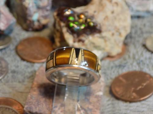 New Sterling Silver Tiger Eye Jasper Inlay Ring Navajo Alfred Tsosie Size 5 1/4