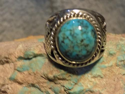 New Sterling Silver Kingman Turquoise Mens Ring Navajo E Richards  Size 9 1/2
