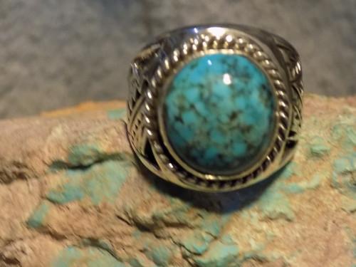 New Sterling Silver Kingman Turquoise Mens Ring Navajo E Richards  Size 12 1/2