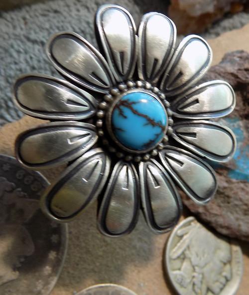 Sterling Turquoise Ladies Handmade Flower Ring Navajo Paul Livingston Siz 8 1/2