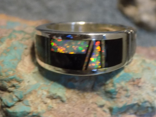Mens Sterling Created Opal and Jet Inlay Ring Navajo Rick Tolino Size 9 1/4 New