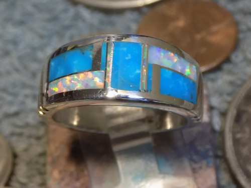 Mens Sterling Created Opal Turquoise Inlay Ring Navajo Rick Tolino Size 9 1/2