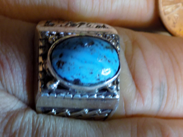 New Mens Ring Sterling Silver Kingman Turquoise Navajo L James  Size 12 1/4