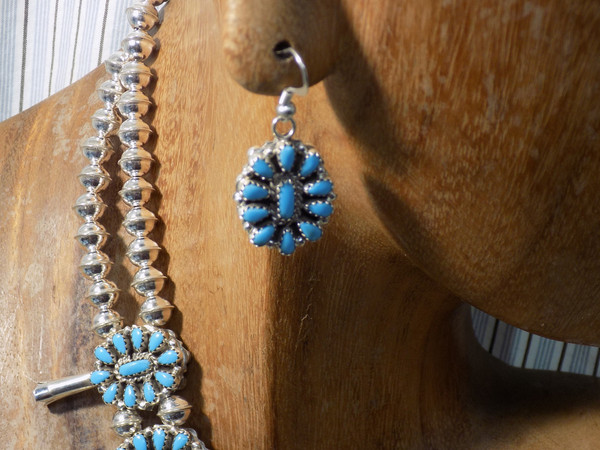 Sterling Turquoise and Coral Squash Blossom Necklace Earrings Navajo Dan Tsosie