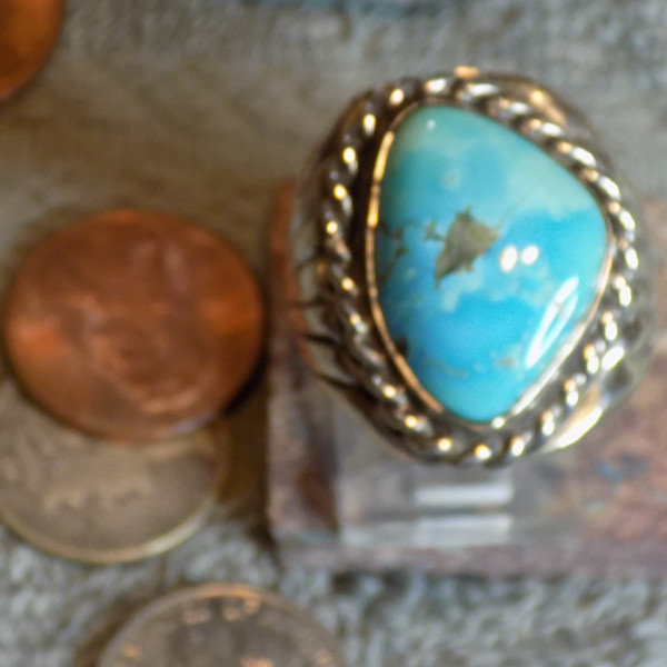 Sterling Silver Morenci Arizona Turquoise Ring Navajo Russell Sam Size 10 1/4