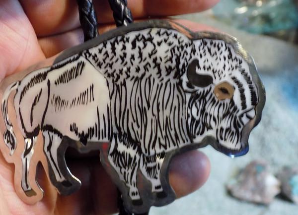Sterling Silver Mother of Pearl Buffalo Inlay Art Bolo Tie Zuni Dale Edaakie