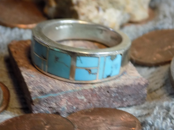 New Mens Sterling Turquoise  Inlay Size 10 1/4 Ring Navajo Rick Tolino