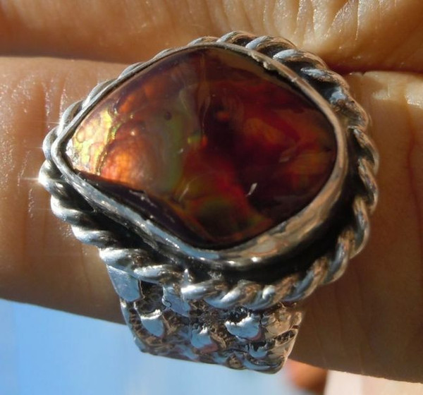 Mens Ring   Sterling Silver 7.81 ct Fire Agate Gemstone Size 9 1/2