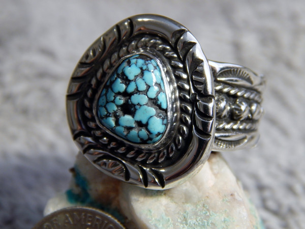 Black Web Turquoise Sterling Silver Mens Ring Size 9 1/2 Navajo Russell Sam