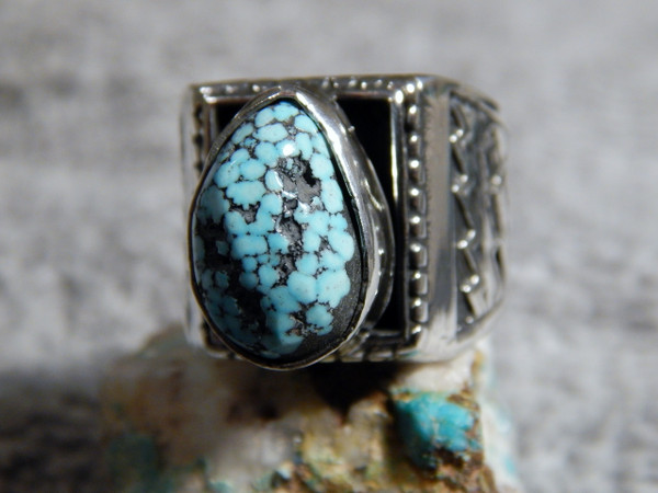 Mens Sterling Silver Spiderweb Turquoise Ring Navajo Geraldine James Size 8 1/2