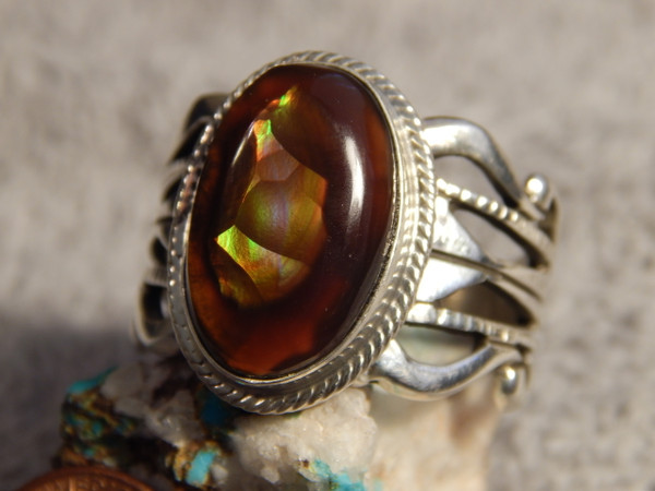 New Fire Agate Sterling Silver Mens Size 14 1/2 Ring by Navajo Russell Sam