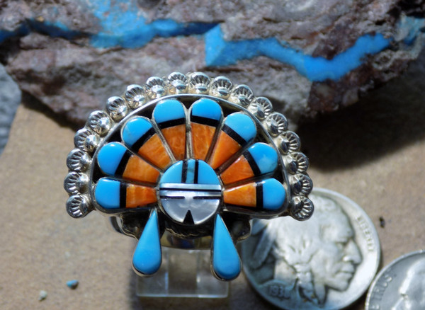 Zuni Roberta Edaakie Headdress Inlay ring www.sdavidjewelry.com