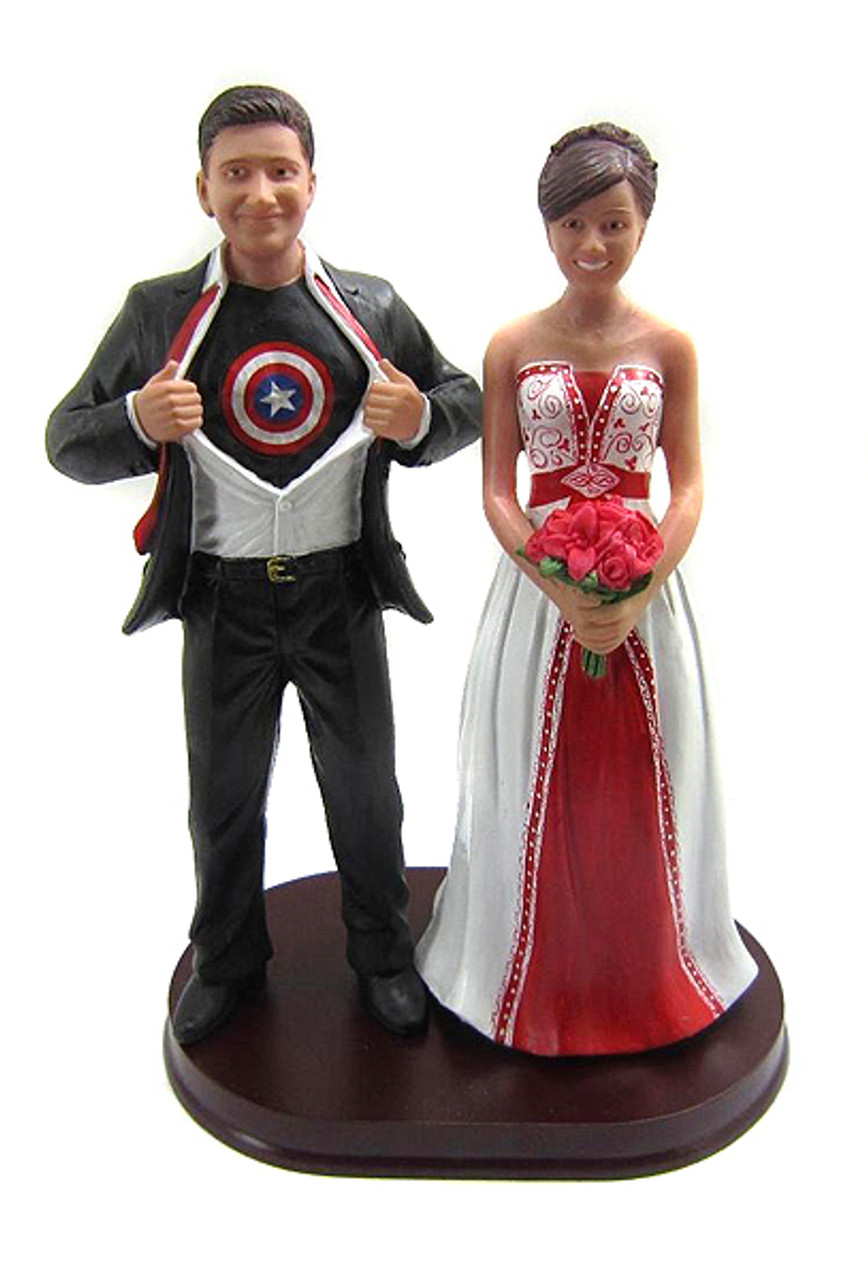 Captain America Classic Custom Wedding Cake Topper with ...