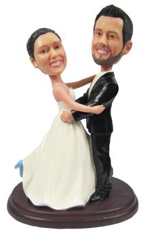 Custom Dancing Bride and Groom Wedding Cake Topper