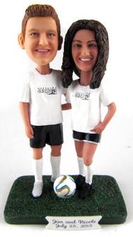 Custom Soccer Couple Wedding Cake Topper