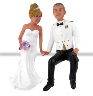 Air Force Groom Sitting on Cake Wedding Cake Toppers Custom Made and Personalized