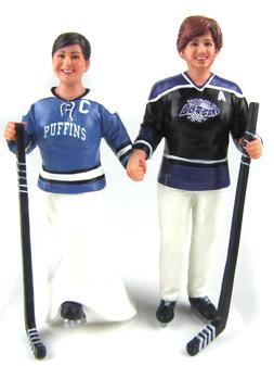 Custom Hockey Player Wedding Cake Topper
