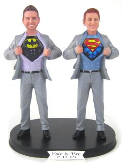 Custom LGBTQ+ Superhero Grooms Wedding Cake Topper