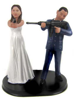 Zombie Hunter Wedding Cake Topper Style 2 Custom Sculpted