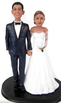 Sweet Elegance Custom Wedding Cake Topper - custom sculpted to look like the bride and groom