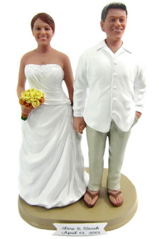 Custom Full Figured Beach Bride and Groom Wedding Cake Toppers