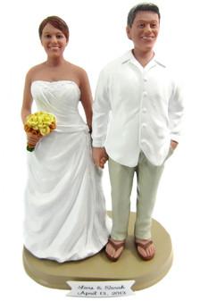 Custom Full Figured Beach Bride and Groom Wedding Cake Toppers