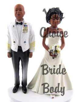 Custom Army Officer w/ Mix & Match Bride Cake Topper