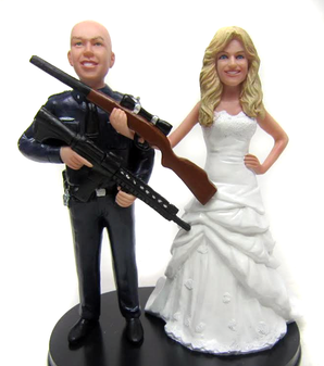 Custom Armed Police Officer Wedding Cake Topper