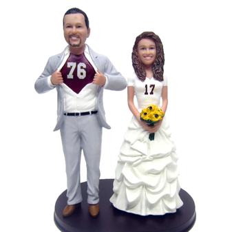 Custom Tall Groom Sports Jersey Couple Wedding Cake Topper