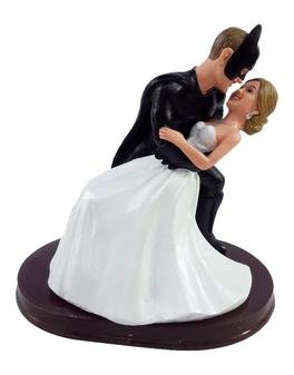Custom Batman Groom Dipping the Bride Wedding Cake Topper