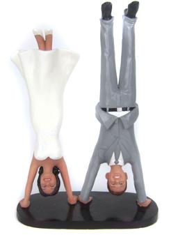 Custom Handstand Bride and Groom Wedding Cake Topper