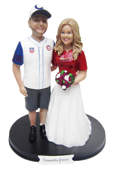 Custom Baseball Couple Wedding Cake Topper