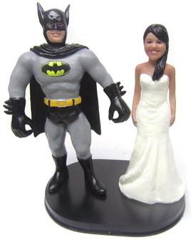 Custom Batman Groom w/ Your Choice of Bride Wedding Cake Topper