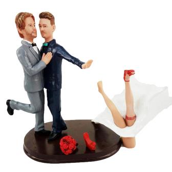 Custom Grooms Pushing off the Bride Wedding Cake Topper
