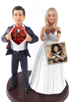 Custom New Wonder Woman and Superhero Groom Wedding Cake Topper