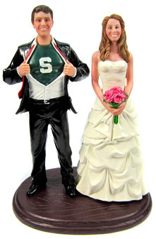 Super Hero Ripping His Shirt Open Wedding Cake Toppers