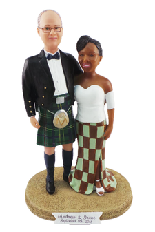 Custom Modern Scottish Couple Custom Wedding Cake Topper