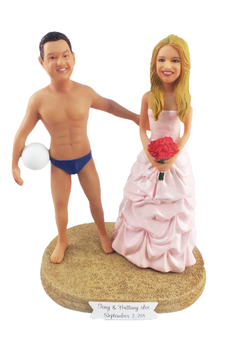 Custom Volleyball Groom w/ Mix & Match Bride Wedding Cake Topper
