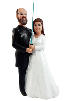 Custom Couple Holding Lightsaber Star Wars Wedding Cake Topper