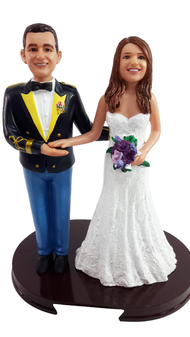 Custom US Army Mess Uniform Wedding Cake Topper with Bride