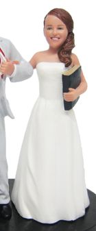 Bride Holding Book Wedding Cake Topper