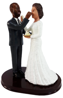 Couple Feeding Each Other Cake Wedding Cake Topper