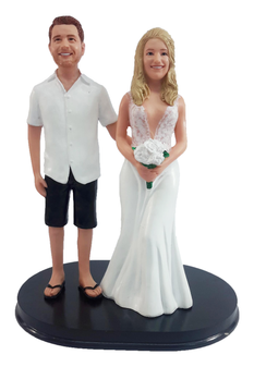 Custom Short Sleeve Shirt and Shorts Groom w/ Mix & Match Bride Wedding Cake Topper