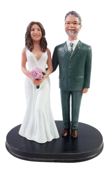 Teasing Suit Groom w/ Mix & Match Bride Wedding Cake Topper
