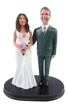 Custom Teasing Suit Groom w/ Mix & Match Bride Wedding Cake Topper