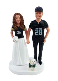 Custom Jerseys Holding Hands Couple Wedding Cake Topper