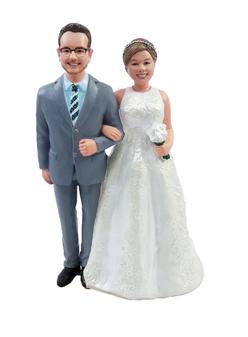 Custom Groom and Full Figured Bride Wedding Cake Topper