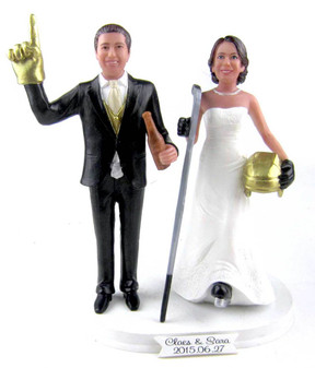Hockey Groom and Hockey Player Bride Wedding Cake Topper Custom Made and Personalized