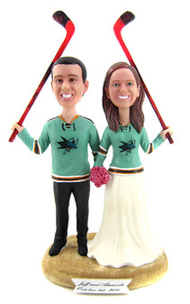 San Jose Sharks Hockey Wedding Cake Toppers