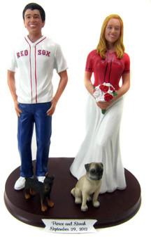 Custom Baseball Fans Wedding Cake Topper